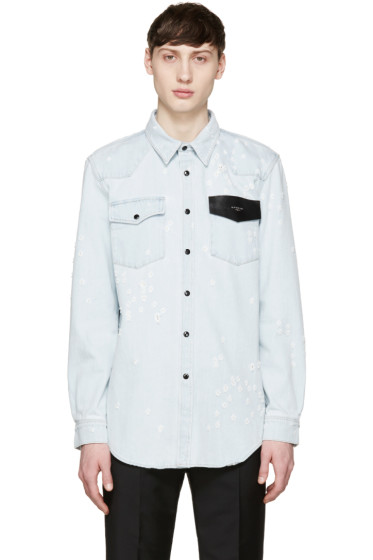 Givenchy - Blue Distressed Denim Logo Shirt