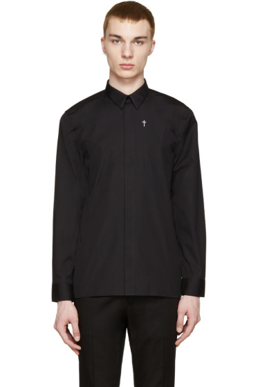 Givenchy - Black Embroidered Cross Shirt