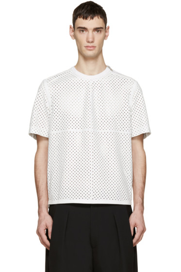 Givenchy - White Perforated Leather T-Shirt