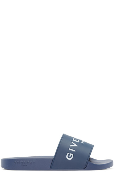 Givenchy - Blue Logo Slip-On Sandals
