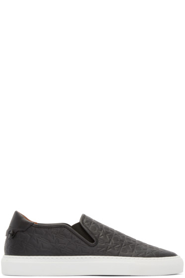 Givenchy - Black Leather Trident Slip-On Sneakers
