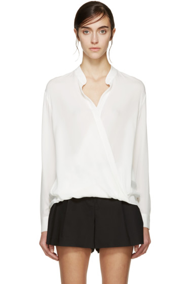 3.1 Phillip Lim - White Silk Draped Blouse