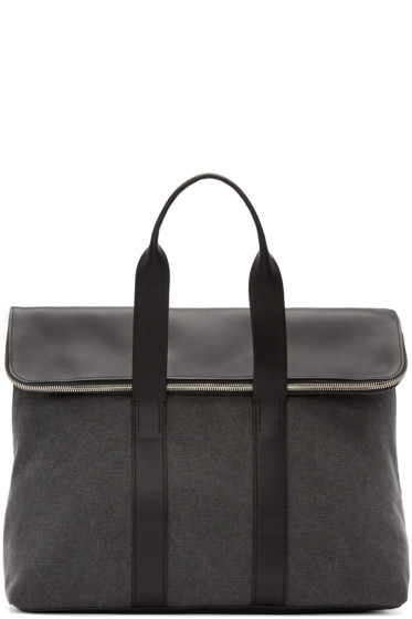 3.1 Phillip Lim - Grey Canvas & Leather 31 Hour Tote
