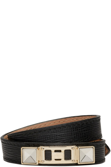 Proenza Schouler - Black Leather PS11 Double-Wrap Bracelet