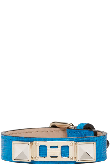 Proenza Schouler - Blue Leather PS11 Single Wrap Bracelet