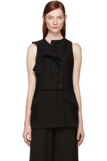 Proenza Schouler - Black Tweed Asymmetric Vest