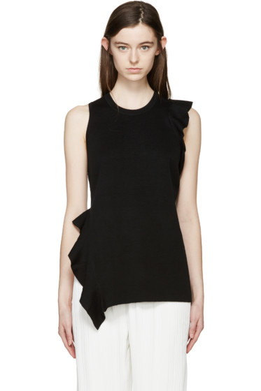 Proenza Schouler - Black Ruffled Knit Top