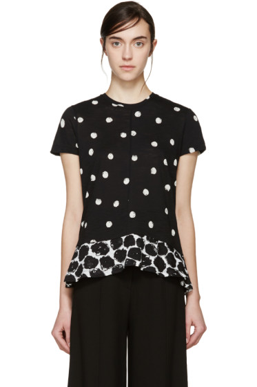 Proenza Schouler - Black & White Polka Dot Peplum T-Shirt