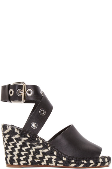 Proenza Schouler - Black Leather Wedge Sandals