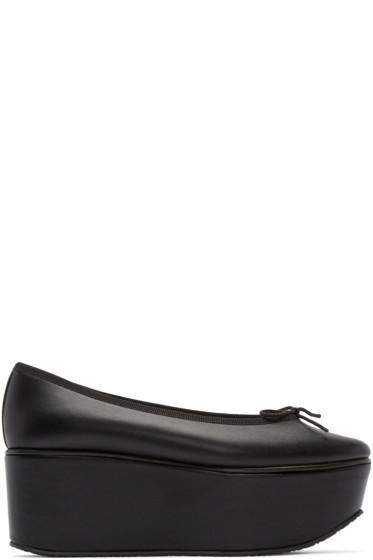 Repetto - Black Leather Platform Doris Ballerina Flats