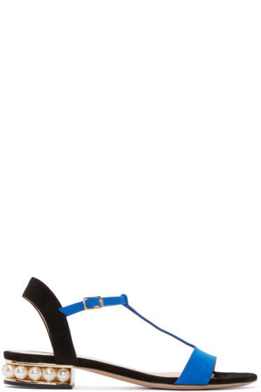 Nicholas Kirkwood - Blue Suede Casati Pearl Sandals
