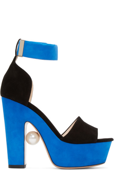 Nicholas Kirkwood - Black & Blue Maya Pearl Sandals