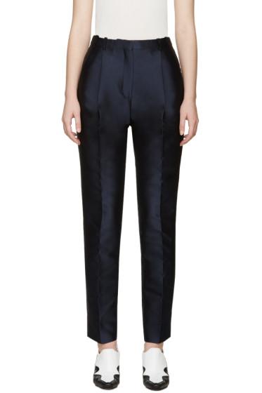 Carven - Navy Satin Stripe Trousers