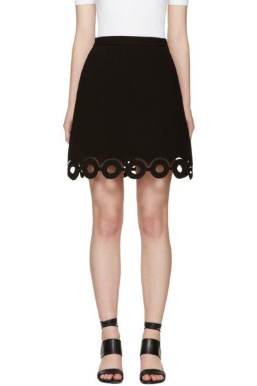 Carven - Black Lasercut Circle Miniskirt