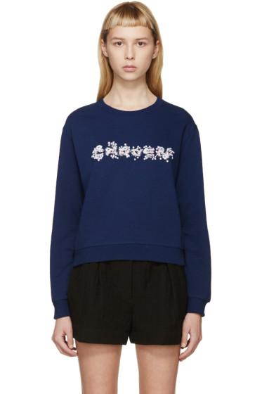 Carven - Navy Floral Logo Sweatshirt