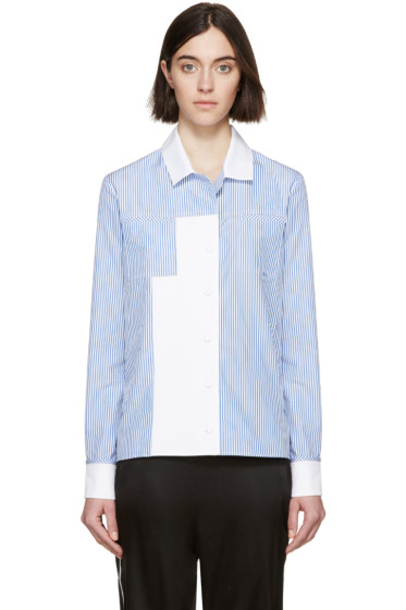 Carven - White and Blue Striped Shirt