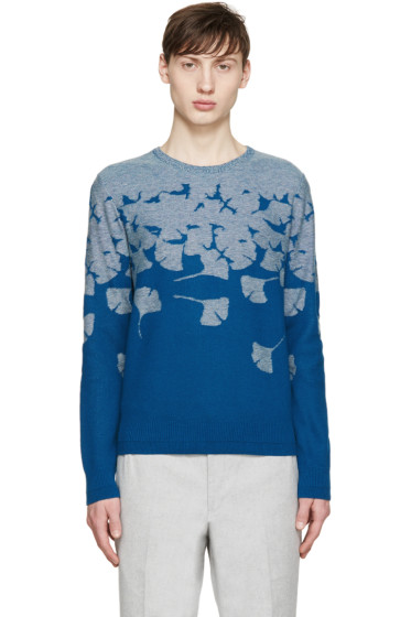Carven - Blue Floral Intarsia Sweater