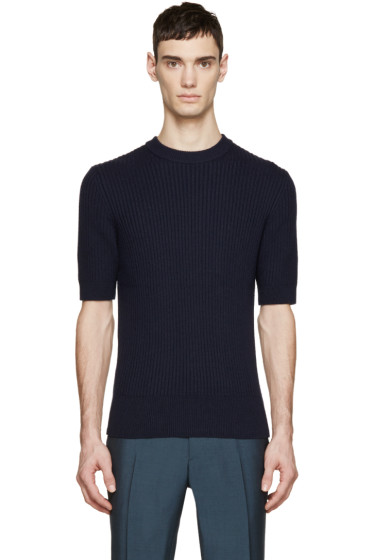 Carven - Navy Ribbed Crewneck Sweater