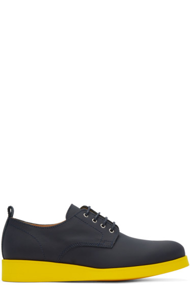 Carven - Navy & Yellow Matte Leather Derbys