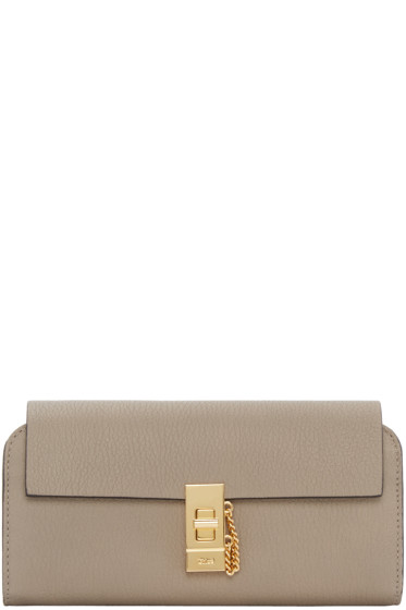 Chloé - Grey Long Flap Drew Wallet