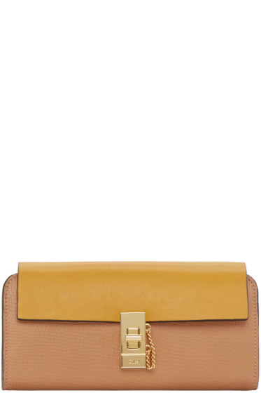 Chloé - Yellow & Tan Long Flap Drew Wallet