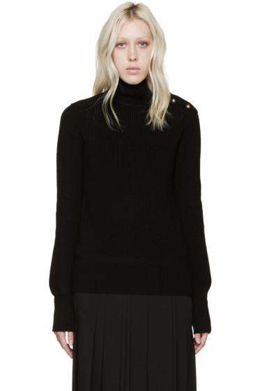 Chloé - Black Wool Buttoned Turtleneck