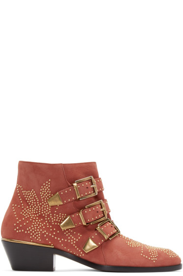 Chloé - Red Suede Studded Susanna Boots