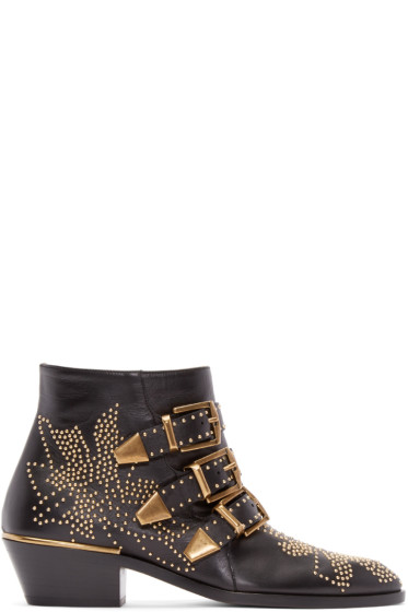 Chloé - Black Leather Studded Susanna Boots
