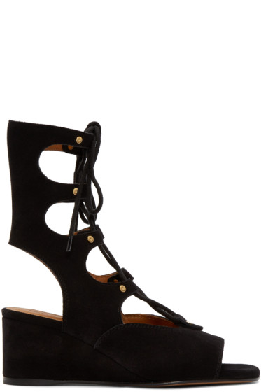 Chloé - Black Suede Gladiator Foster Sandals