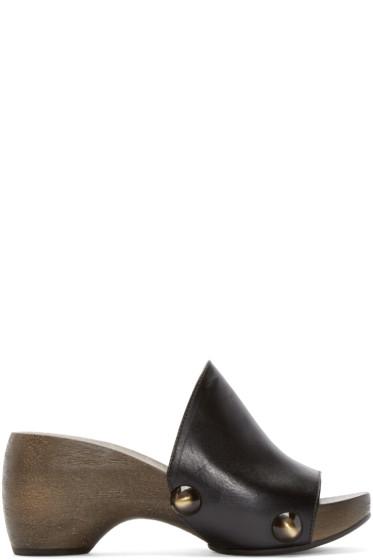 Chloé - Black Wooden Clog Heels
