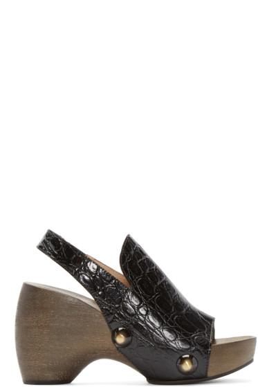 Chloé - Black Croc-Embossed Clog Heels