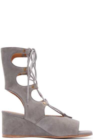 Chloé - Grey Suede Gladiator Sandals