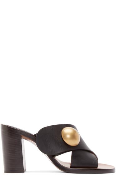 Chloé - Black Leather Criss-Cross Sandals