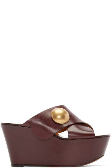 Chloé - Burgundy Criss-Cross Platform Sandals