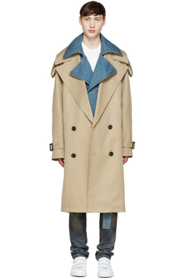 Juun.J - Khaki & Blue Layered Trench Coat