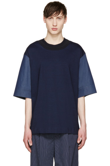 Juun.J - Navy Combination T-Shirt