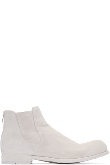 Officine Creative - White Suede Chelsea Boots