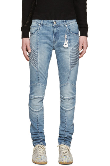 Pierre Balmain - Blue Chain Biker Jeans