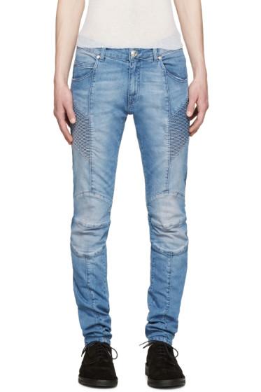 Pierre Balmain - Blue Skinny Biker Jeans