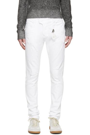 Pierre Balmain - White Chain Biker Jeans