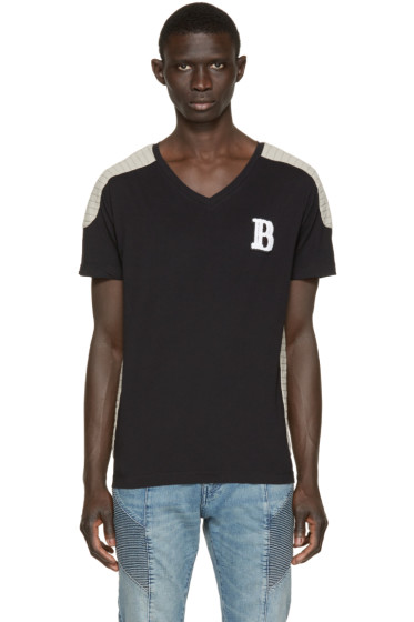 Pierre Balmain - Black & Beige Topstitched T-Shirt