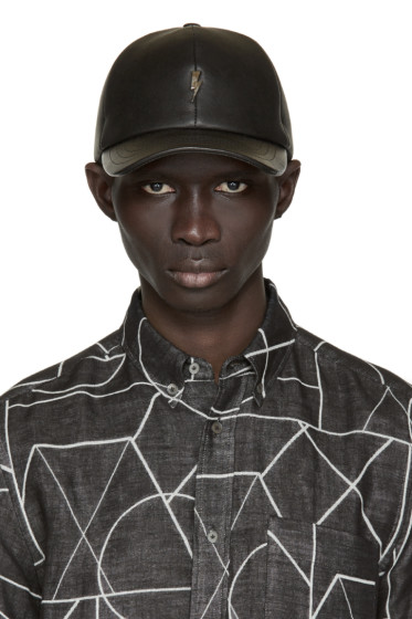 Neil Barrett - Black Leather Thunderbolt Cap