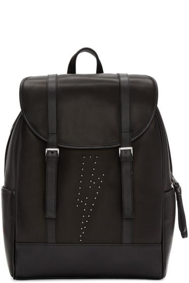 Neil Barrett - Black Leather Studded Thunderbolt Backpack