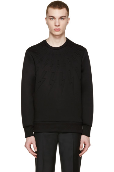 Neil Barrett - Black Lightening Neoprene Pullover