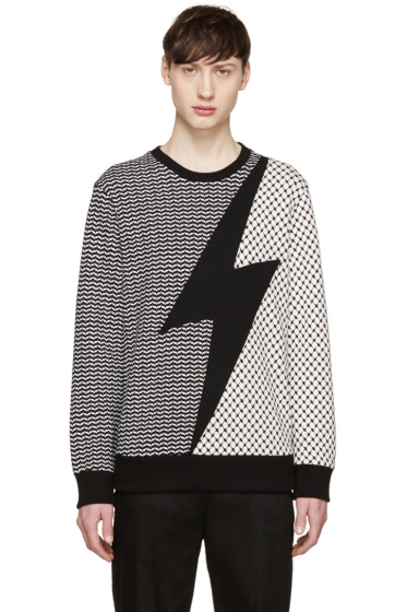Neil Barrett - Black & White Neoprene Patterned Pullover