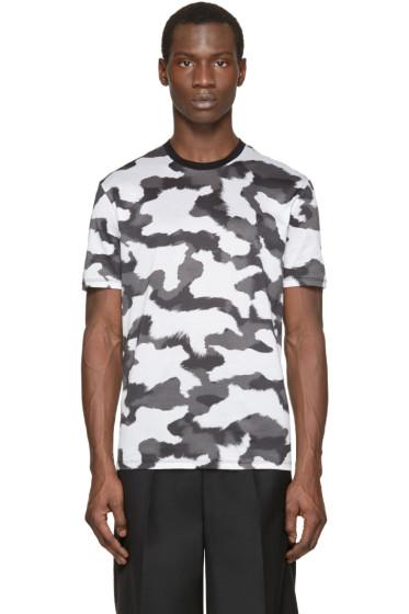 Neil Barrett - White & Grey Camouflage T-Shirt