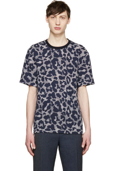 Neil Barrett - Navy & Off-White Neoprene Leopard Pullover