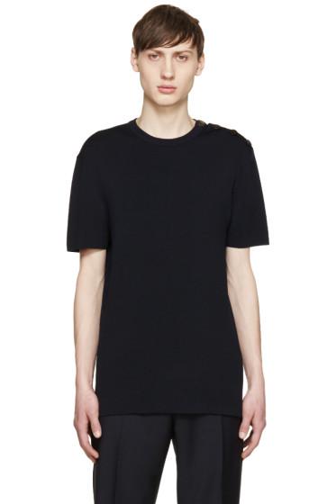 Neil Barrett - Navy Knit Buttoned T-Shirt