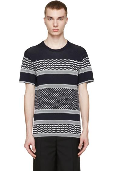 Neil Barrett - Navy & White Knit T-Shirt
