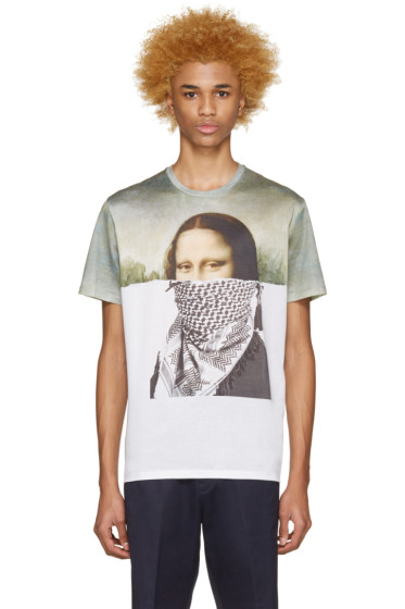 Neil Barrett - Green & White Mona Lisa T-Shirt